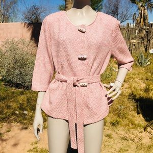St John Pink Knit Toggle Belted Cardigan Sweater